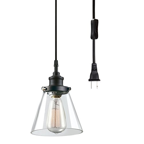 Globe Electric Skylar 1-Light Plug-In Pendant, Clear Glass Shade, Matte Black Finish, - In Pendant Lamps Plug
