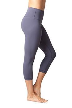 Yogalicious High Waist Ultra Soft Lightweight Capris - High Rise Yoga Pants - Lavender Grey - Xs 1