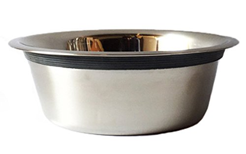 Stainless Steel Pet Bowl - Set of 2 Bowls - 3 Quart Capacity - Rubber Ring Edge Eliminates Noise - Fits Any Diner/Feeder Using 3 QT Bowls - Heavy Duty Stainless Steel - Pet Water and Food Bowl