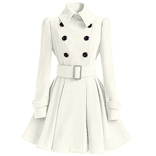 PASATO Winter Warm Women Woolen Coat Trench Parka Jacket Belt Overcoat Outwear (White,XL=US:L)
