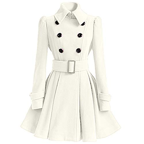 Seaintheson Women's Jacket with Button, Women Plus Size Long Trench Cloak Wool Coat Winter Slim Thicker Belt Parka Overcoat