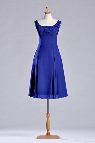 A d'onore abiti cinghie Chiffon Natrual Blue Adorona linea damigella al Royal lunghezza da ginocchio 8XgxE5qw5