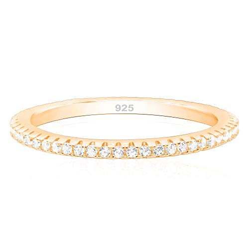 14k Rose Gold Plated 925 Sterling Silver Cubic Zirconia Stackable Stacking Ring Wedding Eternity Band - Size 6