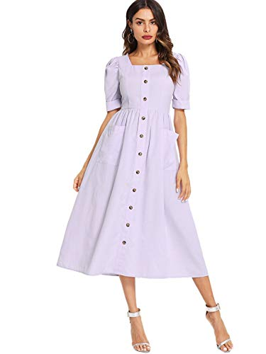 Floerns Women's Puff Sleeve Square Neck Button Down Swing Dress with Pockets Purple - Sleeve Swing Puff