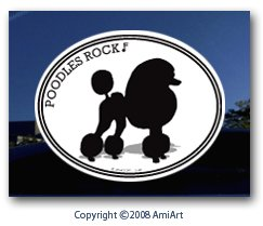(POODLE Decal Sticker.- POODLES ROCK - I Love My Standard Poodle, Miniature Poodle and Toy Poodle Dog Pet Bumper Sticker for Car Truck Window Wall laptop- Most Flat Surfaces- Size 4.8