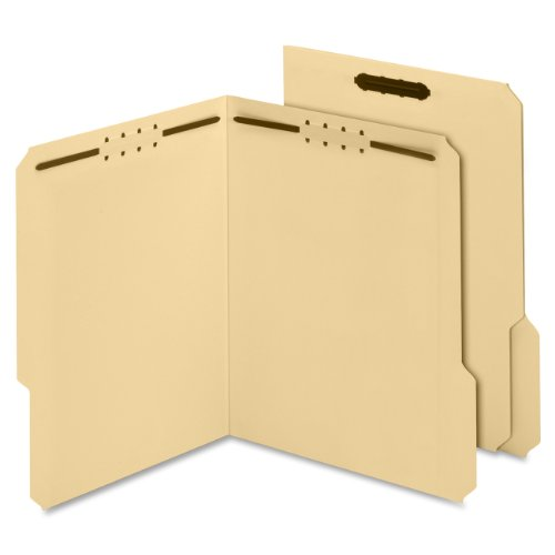 Globe-Weis Manila Fastener Folders, 11 Point, 2 Fasteners, Letter Size, 1/3 Cut Tabs, 50-Count (24537)