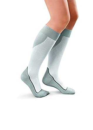 449bb7a91a Amazon.com: JOBST Sport Knee High 15-20 Mmhg Compression Socks, White/Grey,  Large, 4 Ounce: Industrial & Scientific