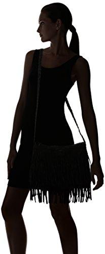 las bolsa mujeres Schwarz de en morado negro de ante o niveles borlas Aimerfeel 2 amarillo con gris qnxFfCw