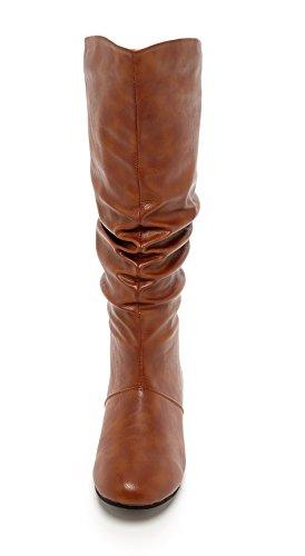 Charles Albert Womens Basey Comfortabele Slouchy Platte Mid-kalf Laars Cognac