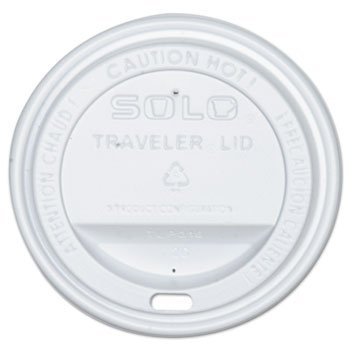 SOLO Cup Company Traveler Drink-Thru Lid, Fits 12 oz & 16 oz Hot Beverage Cups, White (100)