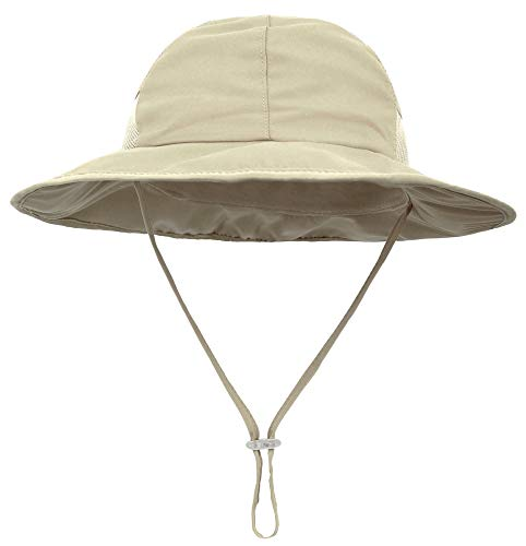 SimpliKids Toddler Sun Hat UPF 50+ UV Sun Protection Wide Brim Bucket Hat Khaki - Large Bucket Brim
