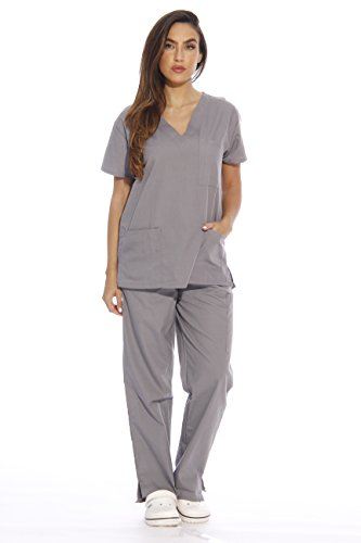Just Love 22251V-2X Light Grey Women's Scrub Sets/Medical Scrubs/Nursing Scrubs from Just Love