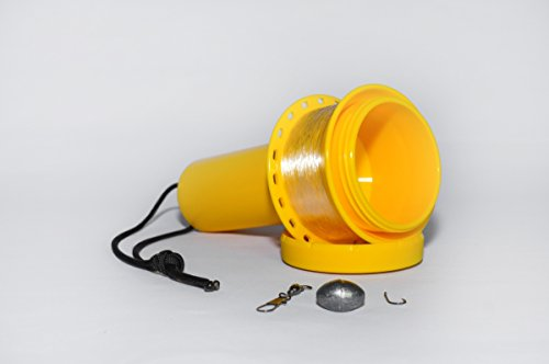 Murray Reel by Jurassic Fishing- Travel Hand Line Fishing Reel and Tackle Box in One (yellow) For Sale