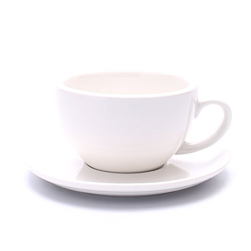 Coffeezone Latte Art Cup and Saucer Cappuccino New Bone China, Mate for Coffee Shop and Barista (Glossy White, 10.5 oz)