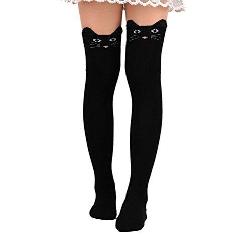 Teen Girls Stockings (Fullkang Teen Girls Cute Cat Catoon Socks Long Socks Over Knee High Sock (Black))