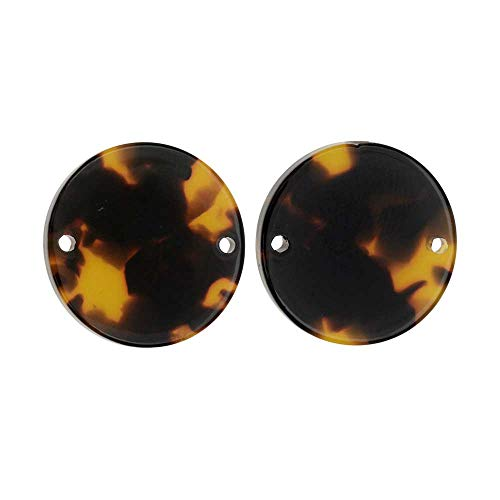 - Zola Elements Resin Connector Link, Coin 20mm, 2 Pieces, Brown Tortoise Shell