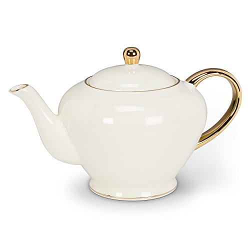 Abbott Collection Ivory Teapot with Gold Handle