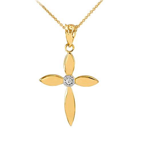 Collier Femme Pendentif Beau 10 Ct Or Jaune Solitaire Diamant Croix (Livré avec une 45cm Chaîne)