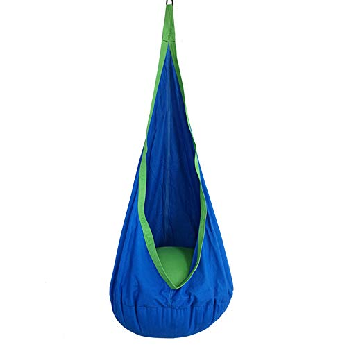 Kids Pod Swing Seat Hammock for Indoor and Outdoor Hanging Hammock Chair-Blue (Hammock Pod Chair)