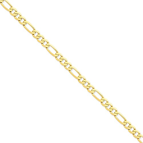 Ankle Bracelet Charm Foot Jewelry - ICE CARATS 14kt Yellow Gold 7mm Flat Link Figaro Chain Anklet Ankle Beach Bracelet 9 Inch : Fine Jewelry Ideal Gifts For Women Gift Set From Heart 14kt Gold Figaro Chain Bracelet