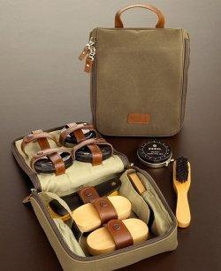 Bey-Berk International Shoe Shine Kit in Ultra Suede/Leather Case by Bey-Berk