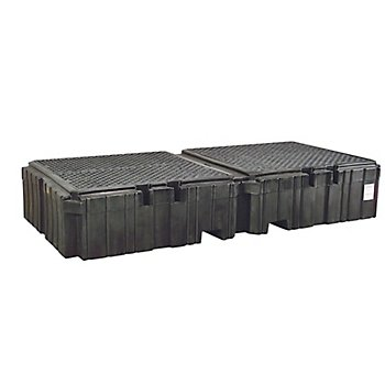 New Pig PAK749 Twin Polyethylene IBC Spill Containment Pallet with Drain, 16000 lbs Load Capacity, 124-19/32