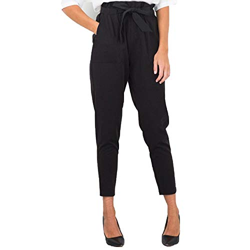 pursuit-of-self Women Bowtie Elastic Waist Drawstring Sweet Elastic Waist Pockets Pencil Pants,Black,S