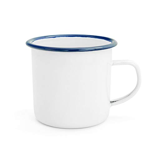 - Argon Tableware Traditional Enamel White Tea/Coffee Mugs - 380ml - Blue Trim