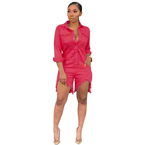 - Trendy Womens Jumpsuit Turn Down Collar Full Sleeve One Piece Playsuit Casual Buttons Up Short Beach Bodysuit(Red,L)