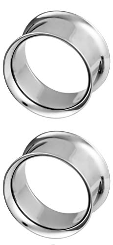 Double Surgical Flared Tunnels Steel - Forbidden Body Jewelry 7/8 Inch (22mm) Surgical Steel Mirror Finish Double Flared Tunnel Plug Earrings