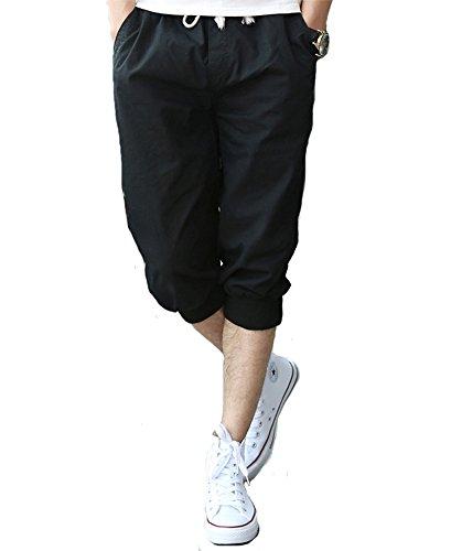 Tonwhar Mens Fashion Capris Shorts Elastic Waist Drawstring 3/4 Length Pants (32, Black) (Capri Shorts Drawstring)