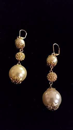 Ivory Glass Pearls and Pave Rhinestone Earrings