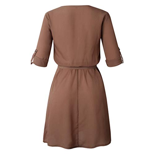 Colouredays-Dress-for-Women-Casual-Summer-Clothing-Tunic-Long-Sleeved-Solid-Design-Buttons-Half-Sleeve-Belt-Skirt