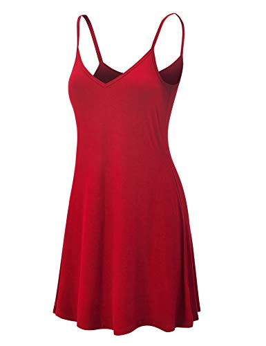 LL WDR1090 Womens V Neck Spaghetti Strap Tunic Short Dress XL RED ()