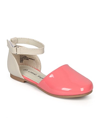 (Little Angel Girl Patent Two Tone Dorsay Round Toe Ankle Strap Flat (Toddler) CH91 - Coral/Beige (Size: Toddler 4))
