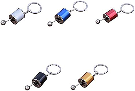 Beeria Creative Key Chain Auto Tuning Part Model Keychain Metal Gear Shift 6 Speed Gearbox Shape Key Ring Bag Car Pendant Ornaments for Women Men Souvenir Birthday Gift
