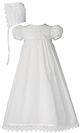 Cotton Christening Gown with Italian Lace (0-3 month)