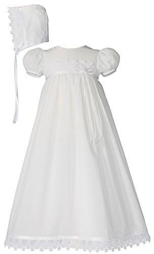 Little Things Mean A Lot 100% Cotton Handmade Girls Christening Special Occasion Dress with Italian Lace 12M -