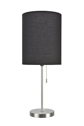 "Aspen Creative 40083-3, 1-Pack Set-1 Light Candlestick Table Lamp, Contemporary Design in Satin Nickel, 19 1/2"" High, Black"