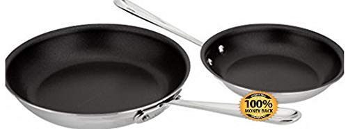 ArtMuseKit 410810 NSR2 Stainless Steel Dishwasher Safe Oven Safe PFOA-Free Nonstick 8-Inch and 10-Inch Fry Pan Set, 2-Piece, Silver 141[並行輸入]   B07LBXTPP8