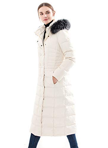 5b6dd4235 Obosoyo Women's Hooded Thickened Long Down Jacket Maxi Down Parka Puffer  Coat White S