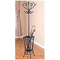 Coaster Home Furnishings Coat Rack with Umbrella Holder, Satin Black Finish