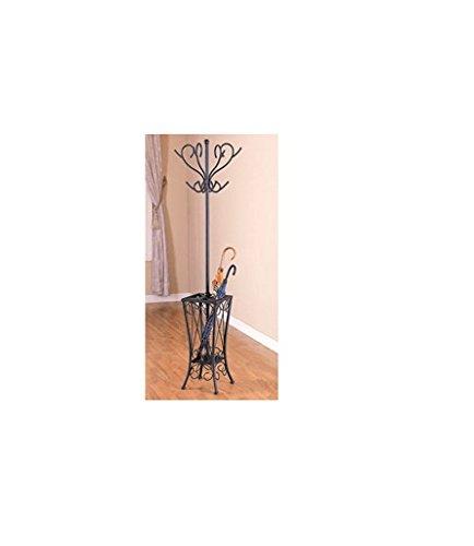 Coaster Home Furnishings Coat Rack with Umbrella Holder, Satin Black Finish 900019