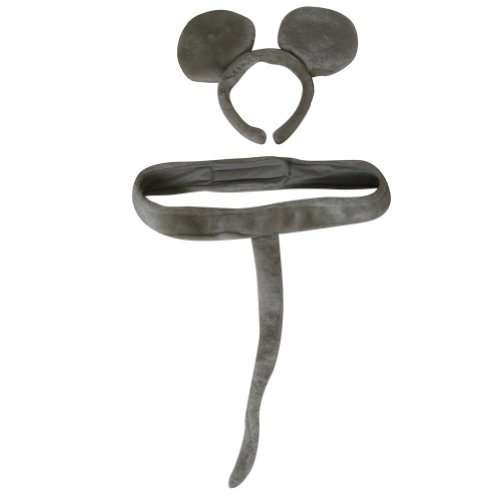Gray Mouse Ears And Tail Costume (Gray Mouse Headband Ears and Tail Costume Set)
