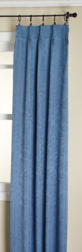 Stylemaster Gabrielle Pinch Pleated Foam Back Drape Pair, Blue, 48 by (Blue Pleated Drapes)
