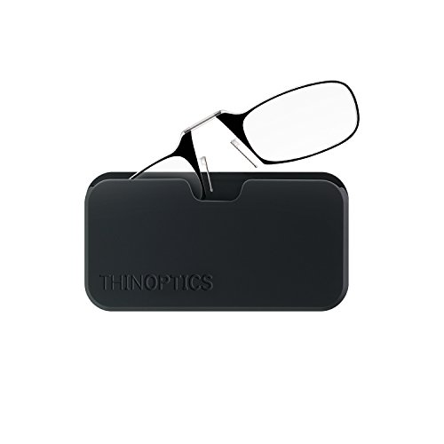 Price comparison product image ThinOPTICS Stick Anywhere, Go Everywhere Reading Glasses plus Classic Universal Pod Case, Black Frame, Black Case, 2.00 Strength