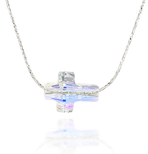 Cross Pendant Made with Original Swarovski AB Crystal 925 Sterling Silver Necklace, 18