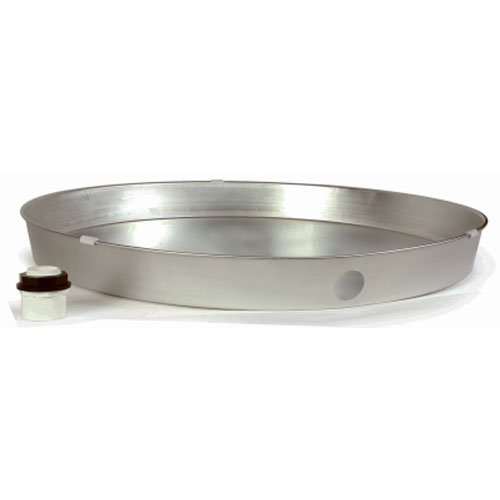 """Camco 20810 26"""" ID x 2.25"""" Deep Aluminum Water Heater Drain Pan with PVC Fitting"""