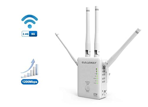GALAWAY 1200Mbps WiFi Extender with 4 External Antennas 2.4GHz+5GHz Dual Band Mini Wireless Signal Extender Compatible with 802.11ac/a/b/g/n Standards WiFi Range Amplifier