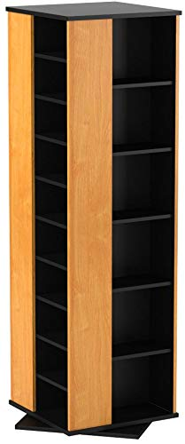 Venture Horizon Revolving Media Tower 1000 Black with Oak Trim by Venture Horizon
